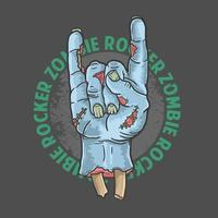 Zombie rocker hand design vector