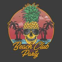 Beach club party skull pineapple design vector