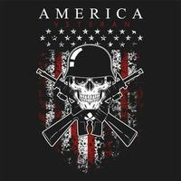 Grunge style America veteran skull and flag design vector