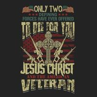 American veteran Jesus Christ emblem for t-shirt designs vector