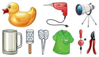 Household items on white vector