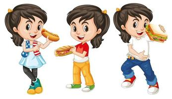Children with happy face eating  vector