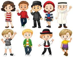conjunto de niños de todo el mundo
