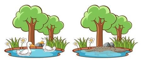 Wild animals in the park with trees vector