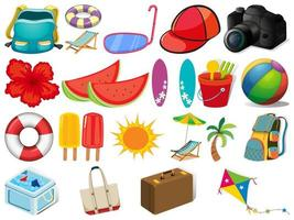 Set of different summer objects