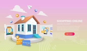 Shopping online from home website template