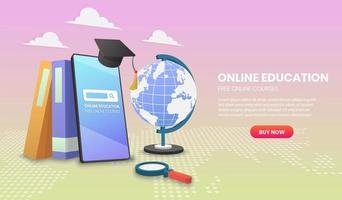 plantilla de sitio web de educación móvil en línea vector