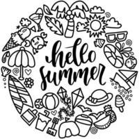 Hello summer doodle wreath vector