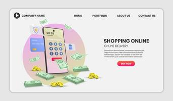 Online banking and shopping website template vector
