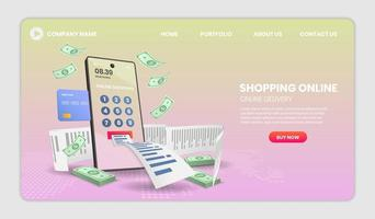 Shopping online on mobile phone with receipt website template