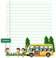 Paper template with kids and school bus