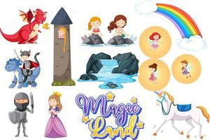 Fairytale characters on white vector
