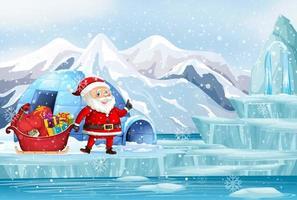 escena con santa y regalos en el polo norte