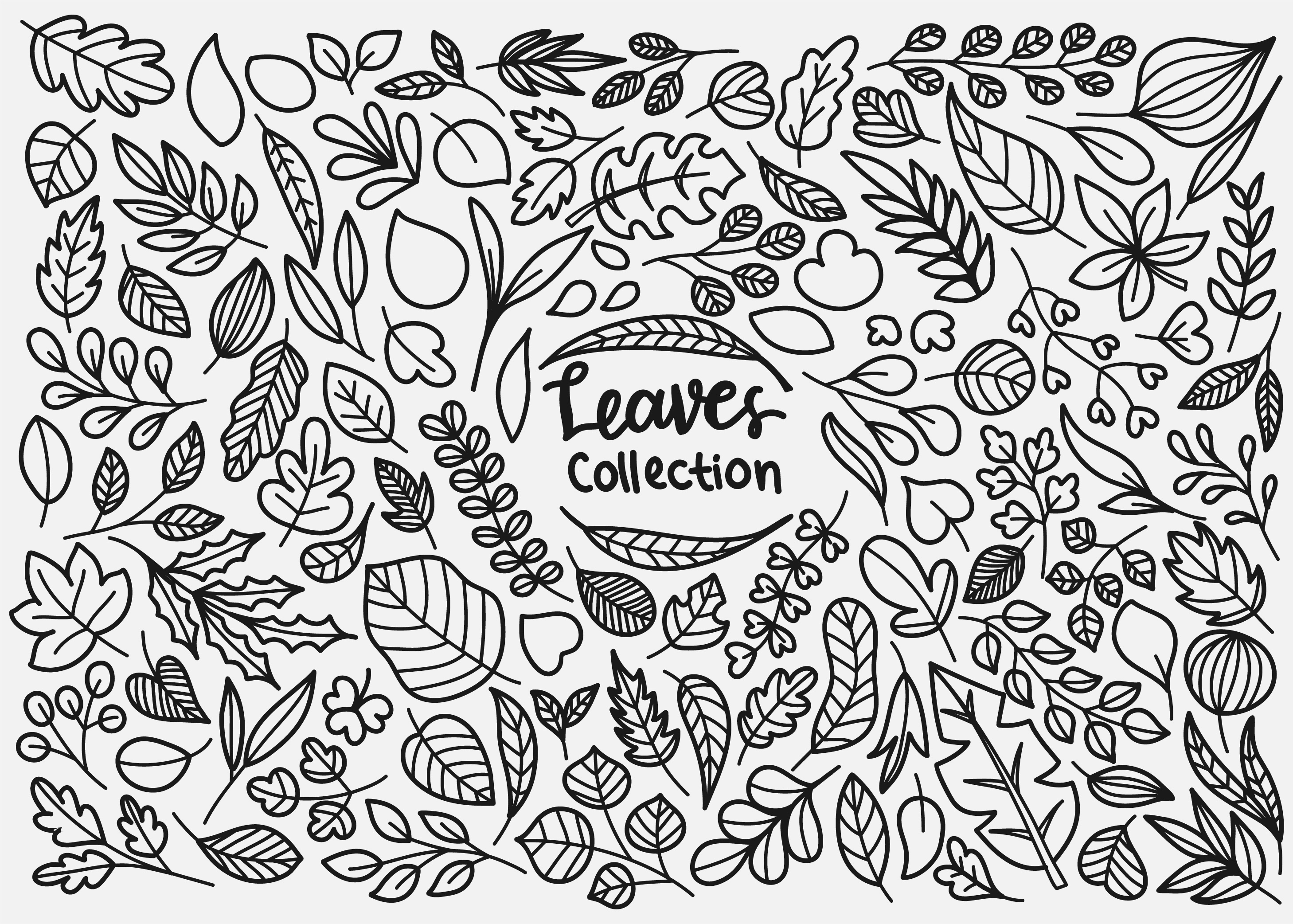 Leaves Doodle Collection Download Free Vectors Clipart Graphics Vector Art