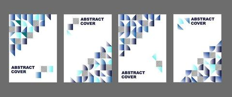 Blue geometric shape cover set vector