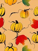 Doodle style pumpkins with leaves seamless pattern vector