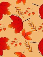 Autumn leaf seamless pattern vector