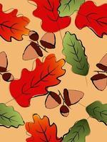 Autumn oak leaf and acorn seamless pattern vector