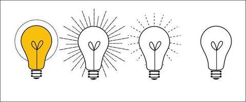 jeu d'icônes d'ampoule à incandescence vecteur