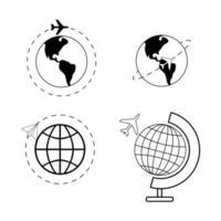 Airplane flying around world icon set vector