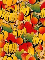 Kürbisse mit Blättern, Pilzen und Beeren nahtloses Muster vektor