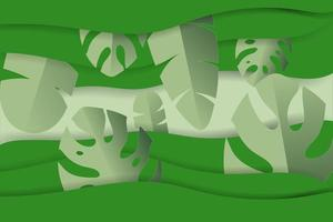 Paper cut style tropical leaves in green shades vector