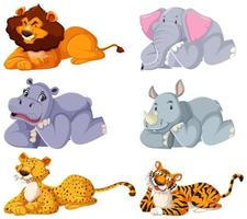 Set of wild animals laying down vector