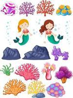 conjunto de sirenas y arrecifes de coral en blanco vector
