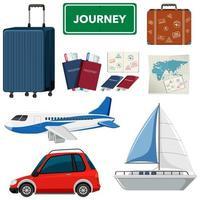 conjunto de tema de vacaciones con transportes y otros artículos