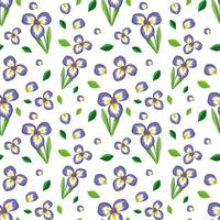 Seamless pattern with cute purple flower and leaf vector