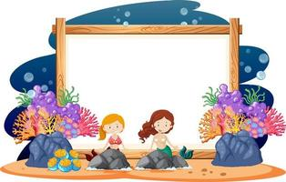 Border template design with mermaids  vector