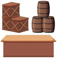 conjunto de cajas y barriles en blanco vector