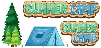 Elementos de campamento de verano de palabra en blanco vector