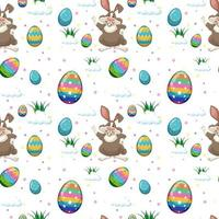 Seamless pattern of easter egg and cute rabbit