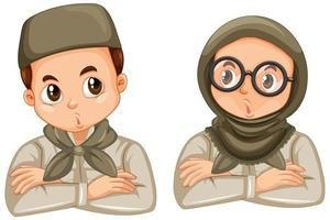Young muslim student cartoon character set vector