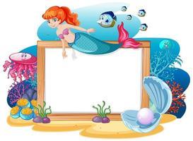 Tema de sirena y animales marinos con banner en blanco vector