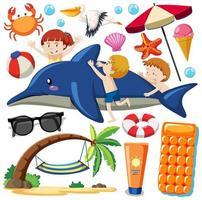 Conjunto de iconos de playa de verano en estilo de dibujos animados vector