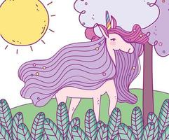 Magic unicorn outdoors in forest vector