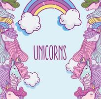 Fantasy unicorns looking at each other with rainbow vector