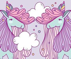Fantasy unicorns looking at each other vector