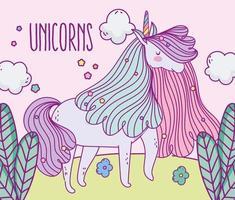lindo unicornio al aire libre vector