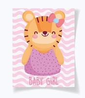 Baby shower card template with cute tiger girl