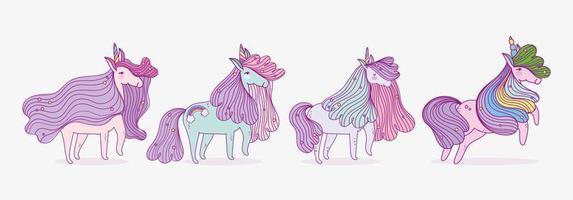 Set of four cute unicorns vector