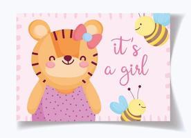 plantilla de tarjeta de baby shower de tigre niña y abejas vector