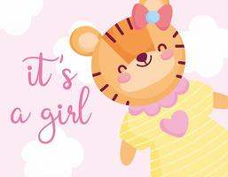 Cute tiger girl baby shower card vector