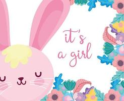 Baby shower bunny girl with flowers