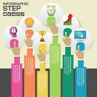 Colorful arm business infographic with six options vector