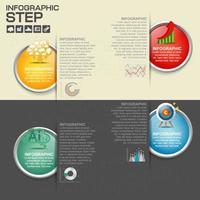 Infografía con pasos de círculo modernos en rendijas de papel