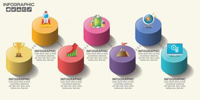Colorful cylinder timeline infographic