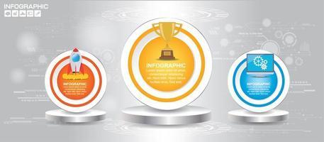 Three circle podium levels infographic  vector